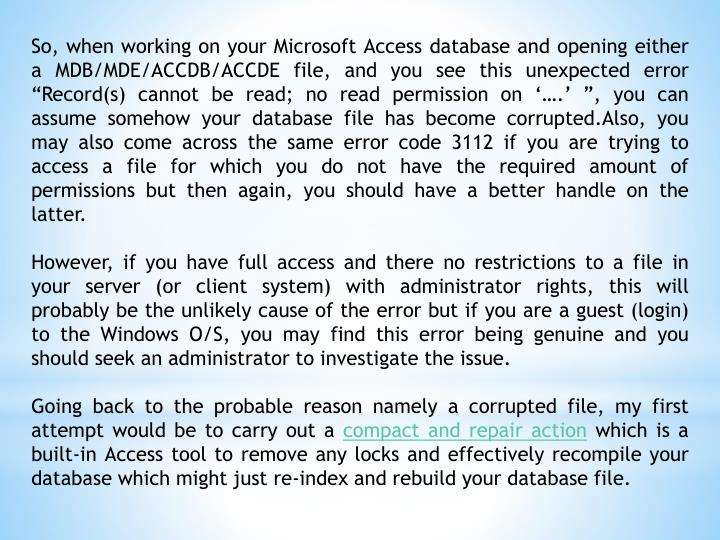 PPT - MICROSOFT ACCESS DATABASE ERROR 3112, RECORD(S) CANNOT