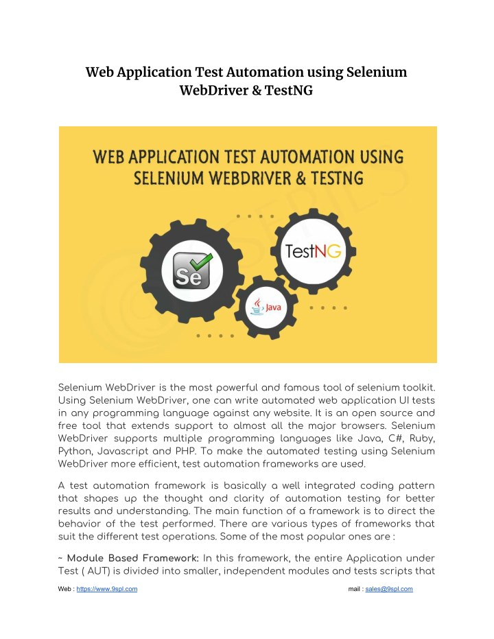 web application test automation using selenium n.