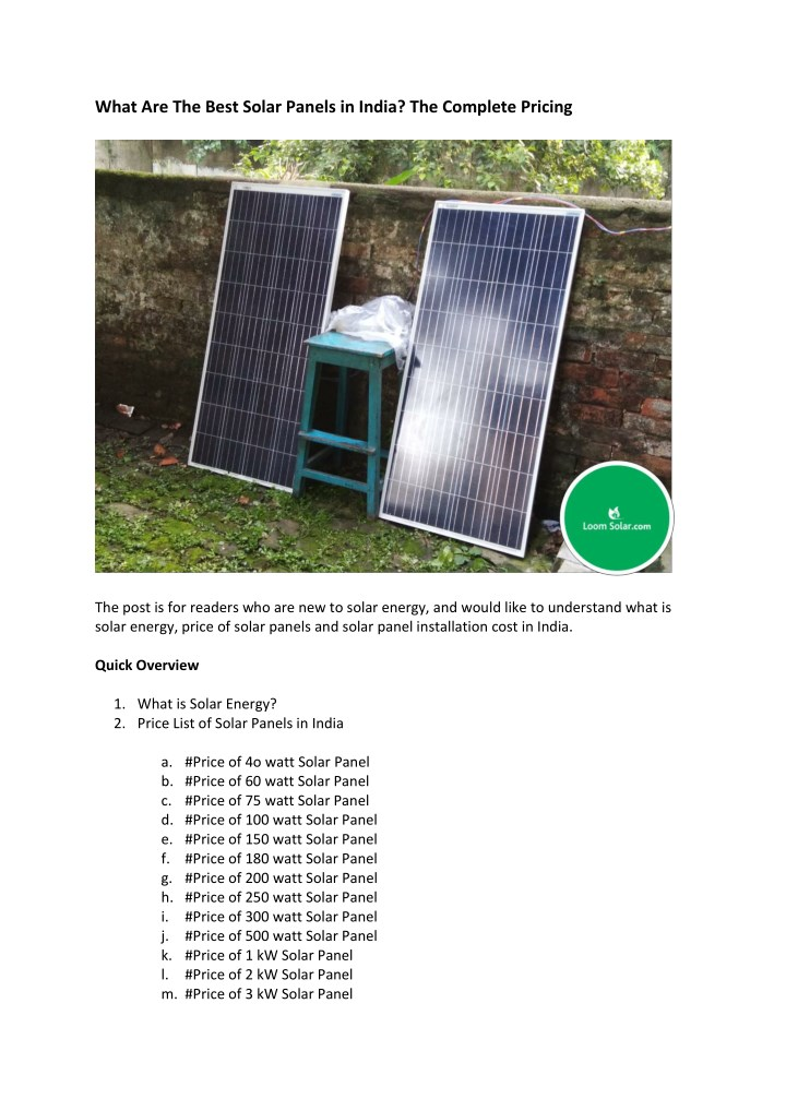 what are the best solar panels in india n.
