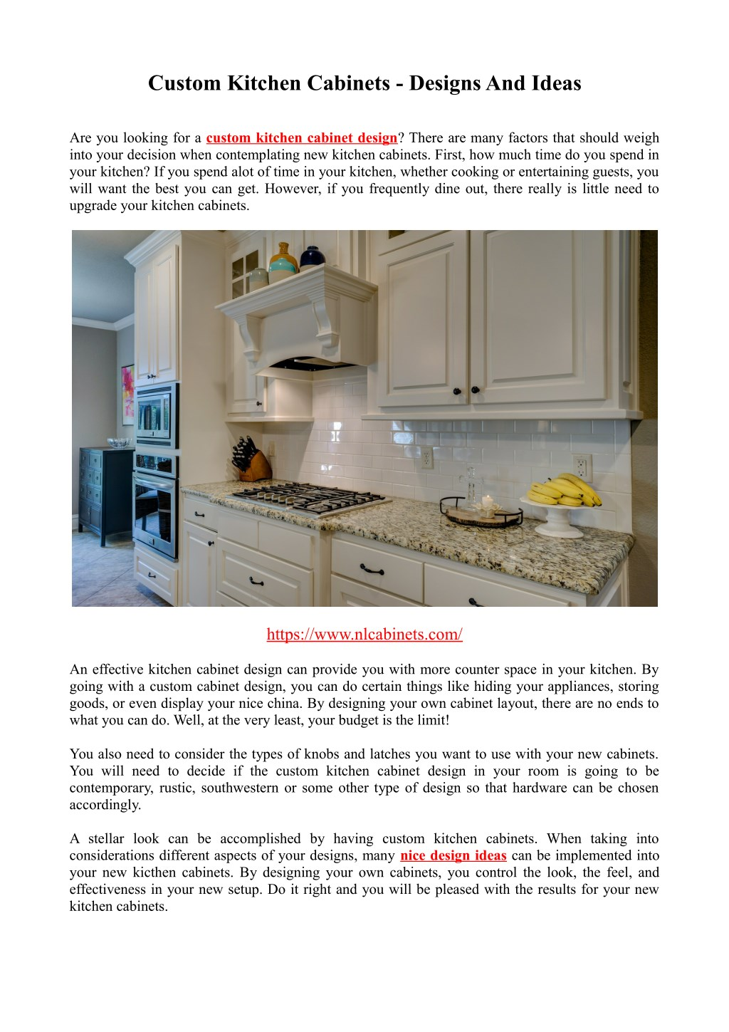 Ppt Custom Kitchen Cabinets Designs And Ideas Powerpoint Presentation Id 7954684