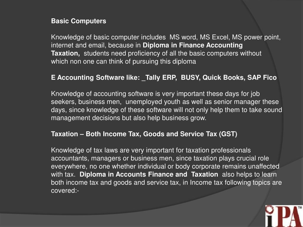 PPT - Diploma in Finance and accounting PowerPoint