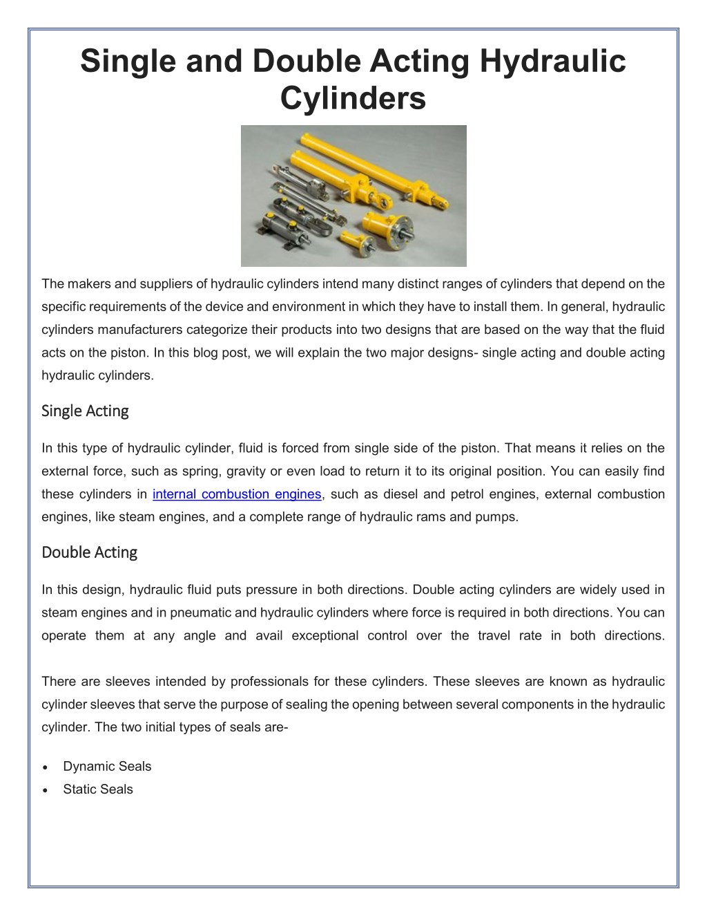PPT - Single and Double Acting Hydraulic Cylinders