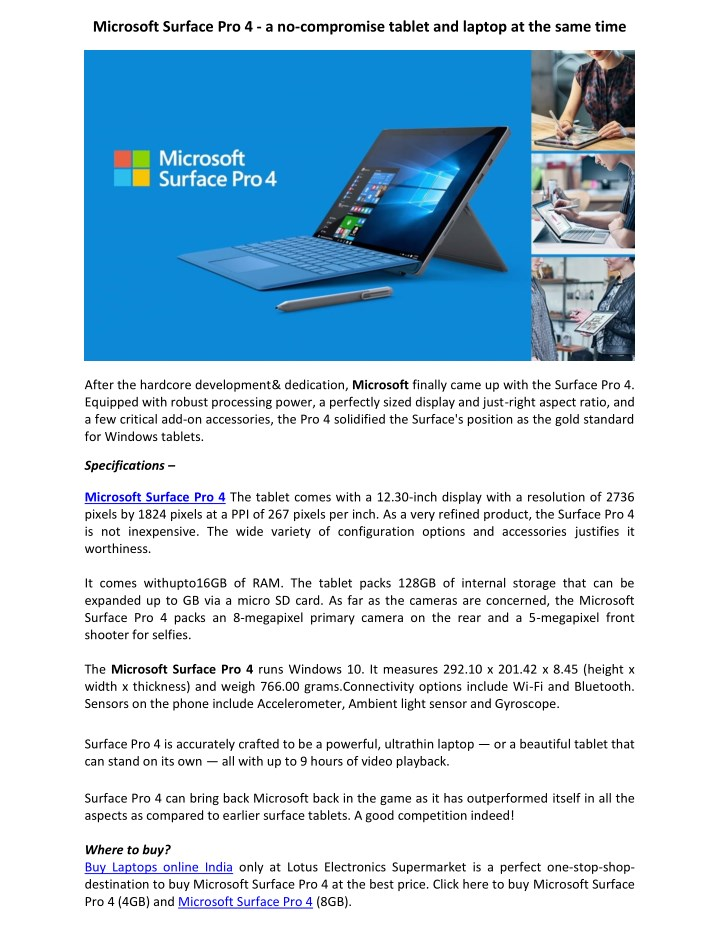 PPT - Microsoft Surface Pro 4 Core i5 6th Gen - Lotus