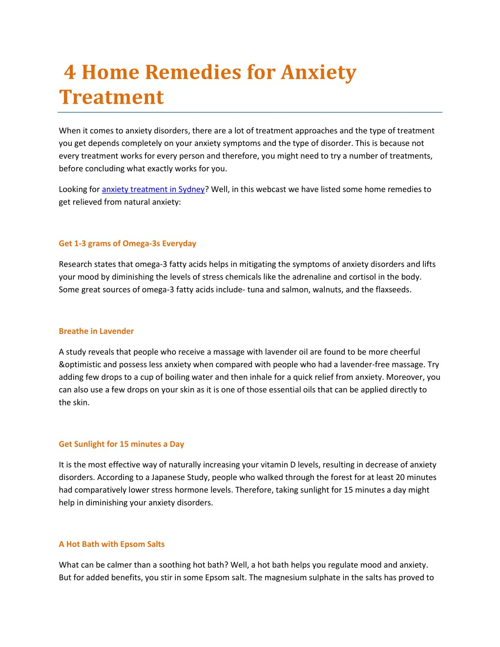 ppt - 4 home remedies for anxiety treatment powerpoint presentation
