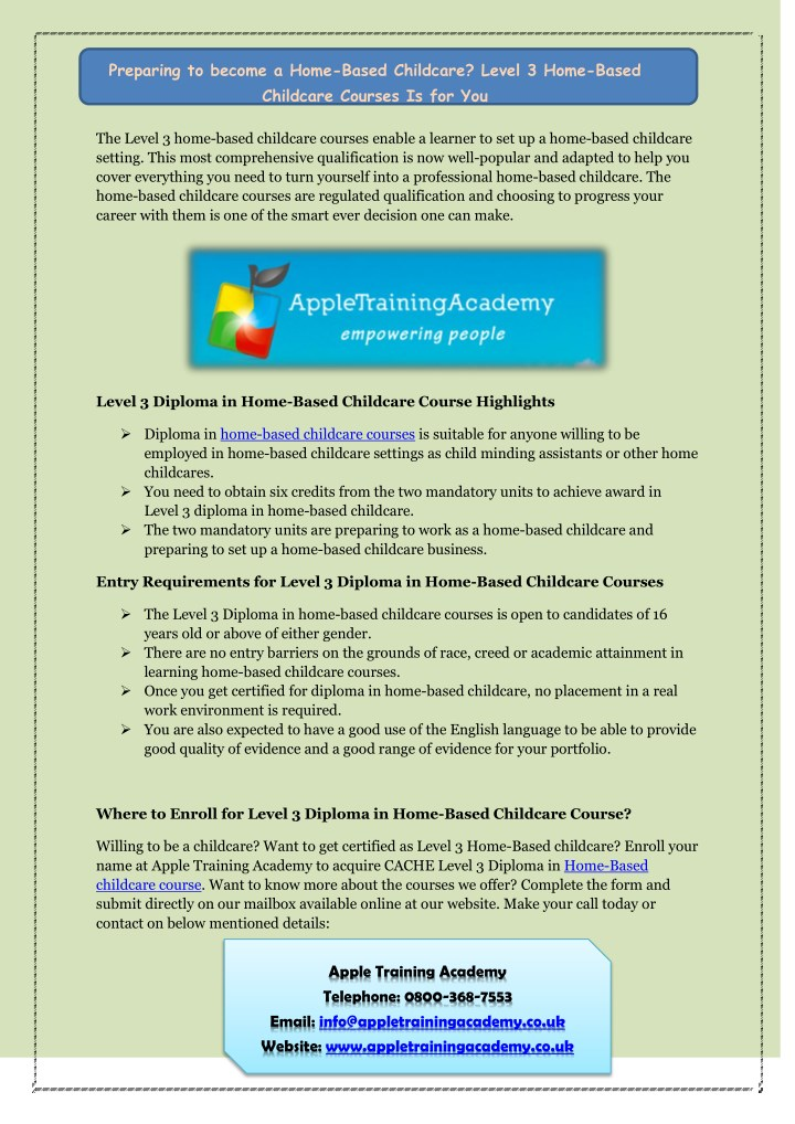 ppt - why choose apple training academy for child care short courses ...