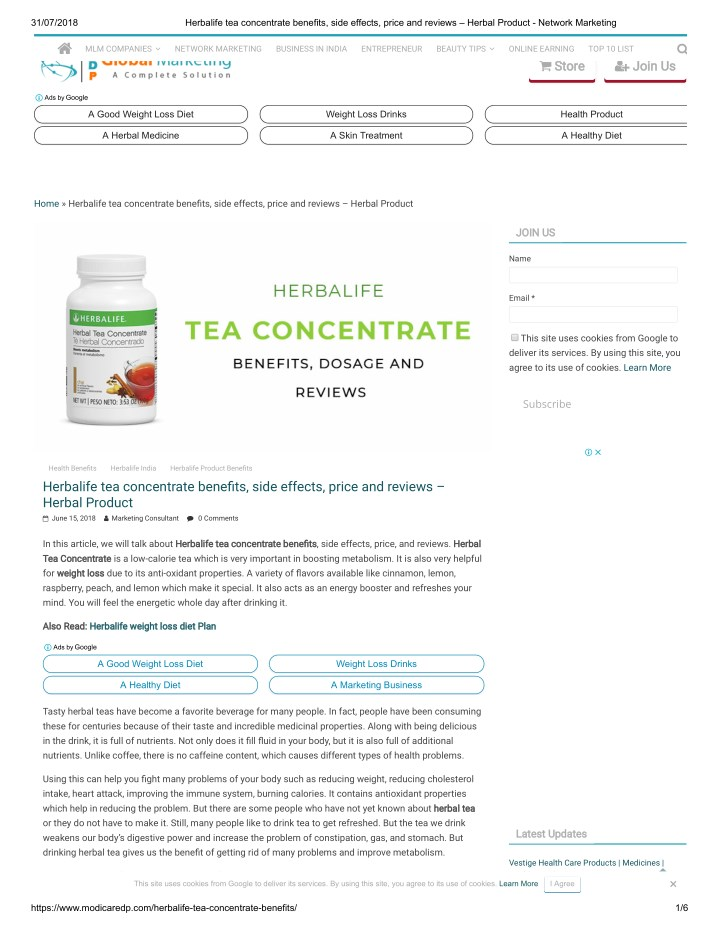 PPT - Herbalife tea concentrate benefits, side effects