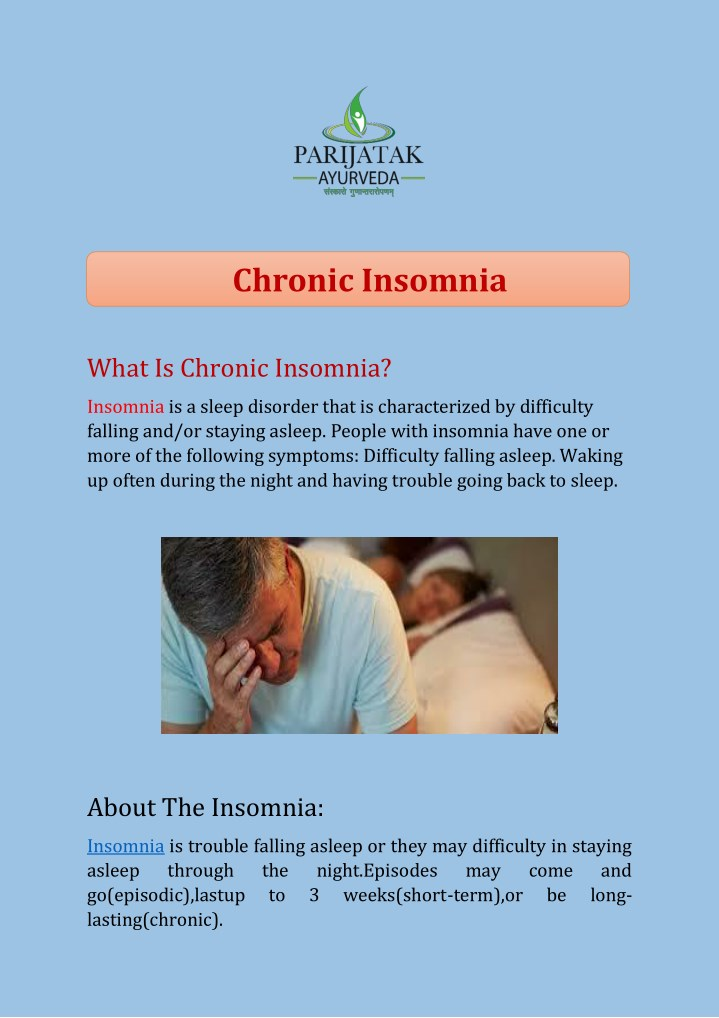 chronic insomnia n.
