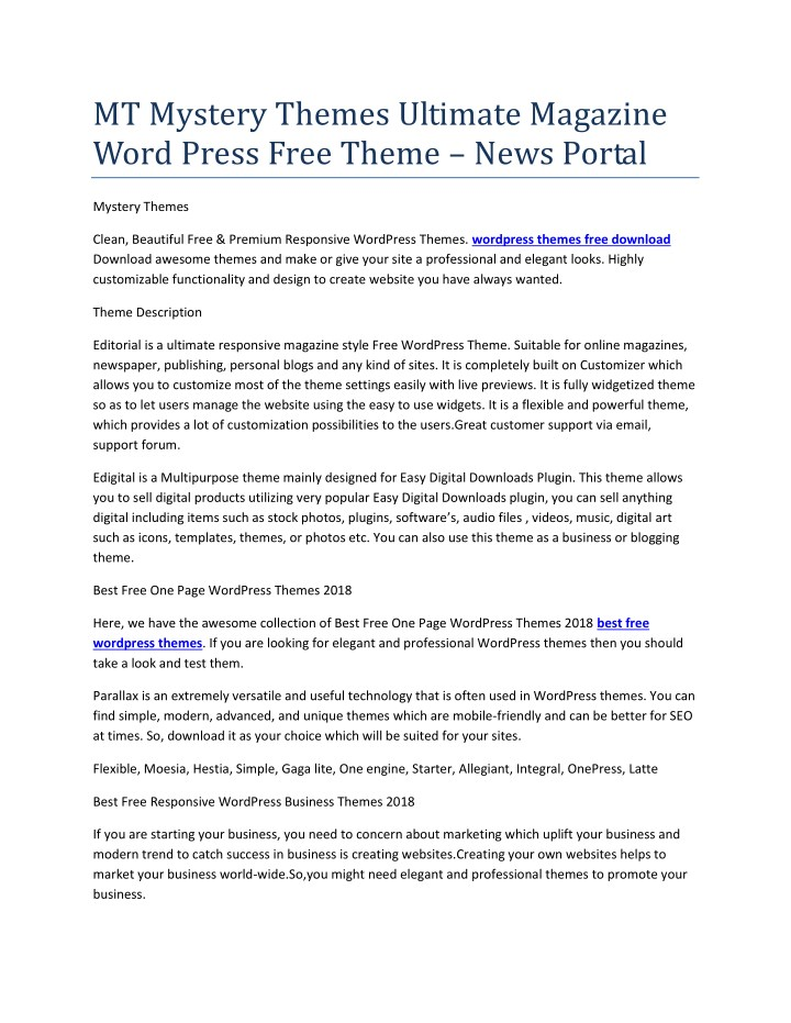 PPT - best free wordpress themes PowerPoint Presentation