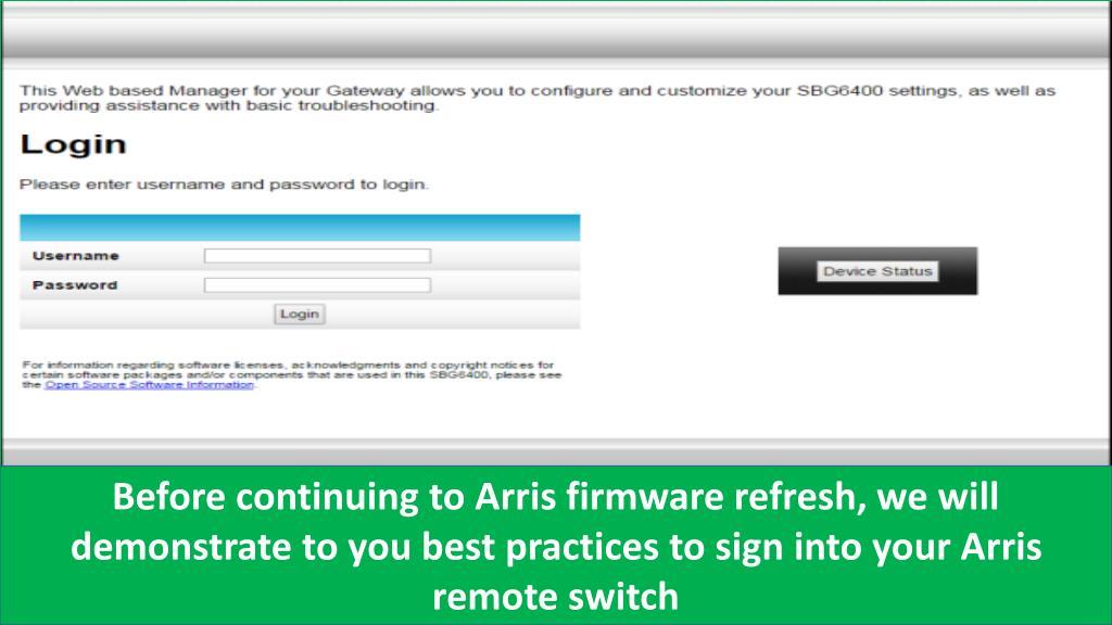 PPT - Update Arris firmware New version PowerPoint