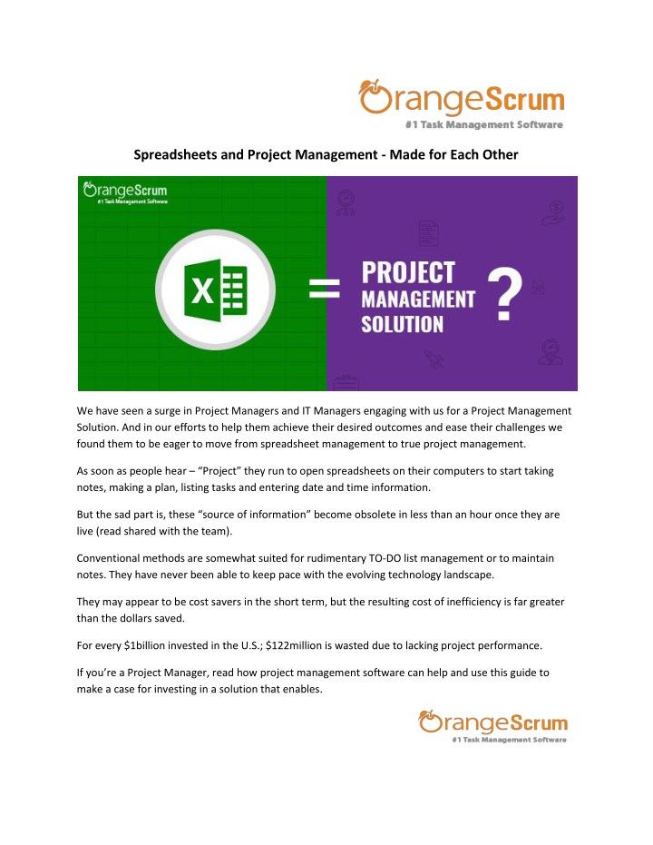 spreadsheets and project management made for each n.