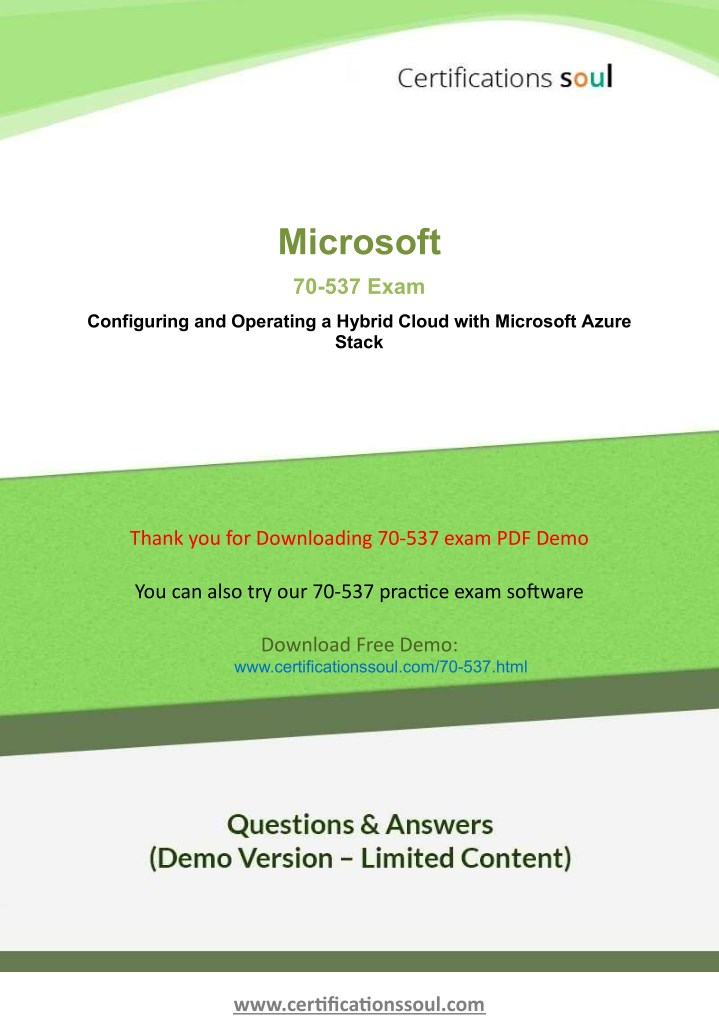 PPT - Microsoft 70-537 Microsoft Certified Professional Practice