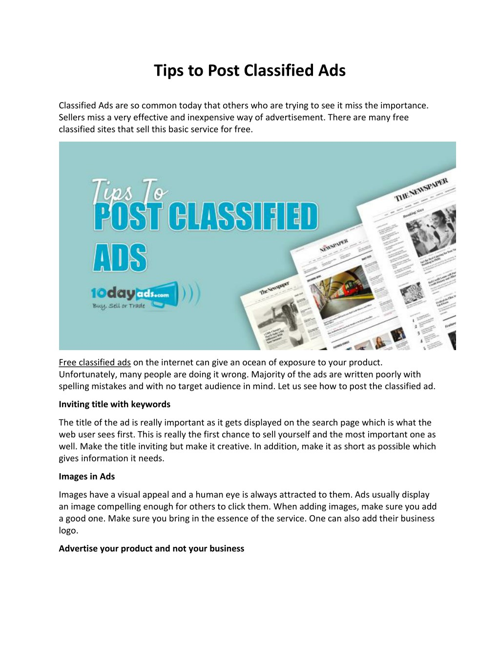 Using Appealing Titles For The Classified Ads | Veduggio Informa