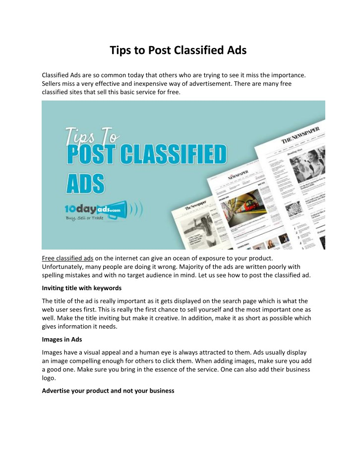 PPT - Tips to Post Classified Ads PowerPoint Presentation - ID:7959479