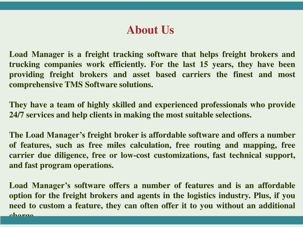 PPT - Load Manager - TMS Trucking Software For Freight Brokers