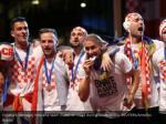 croatia s domagoj vida and team mates on stage