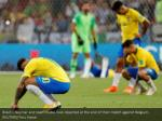 brazil s neymar and team mates look dejected