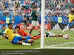 brazil s neymar scores their first goal against