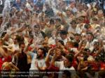 england fans celebrate during their match against