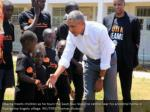 obama meets children as he tours the sauti