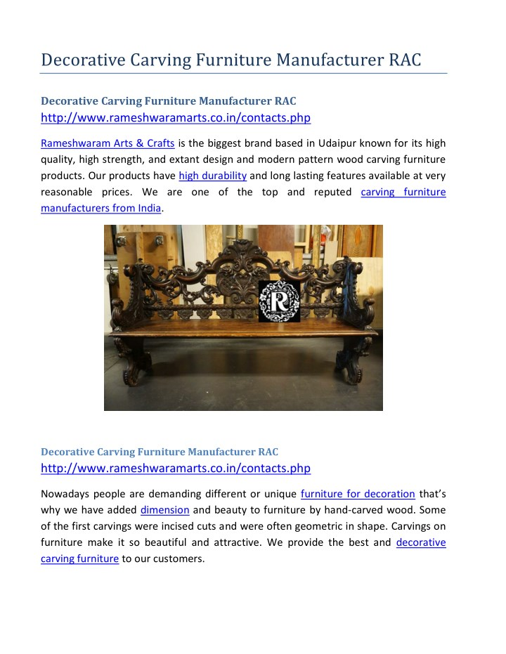 decorative carving furniture manufacturer rac n.