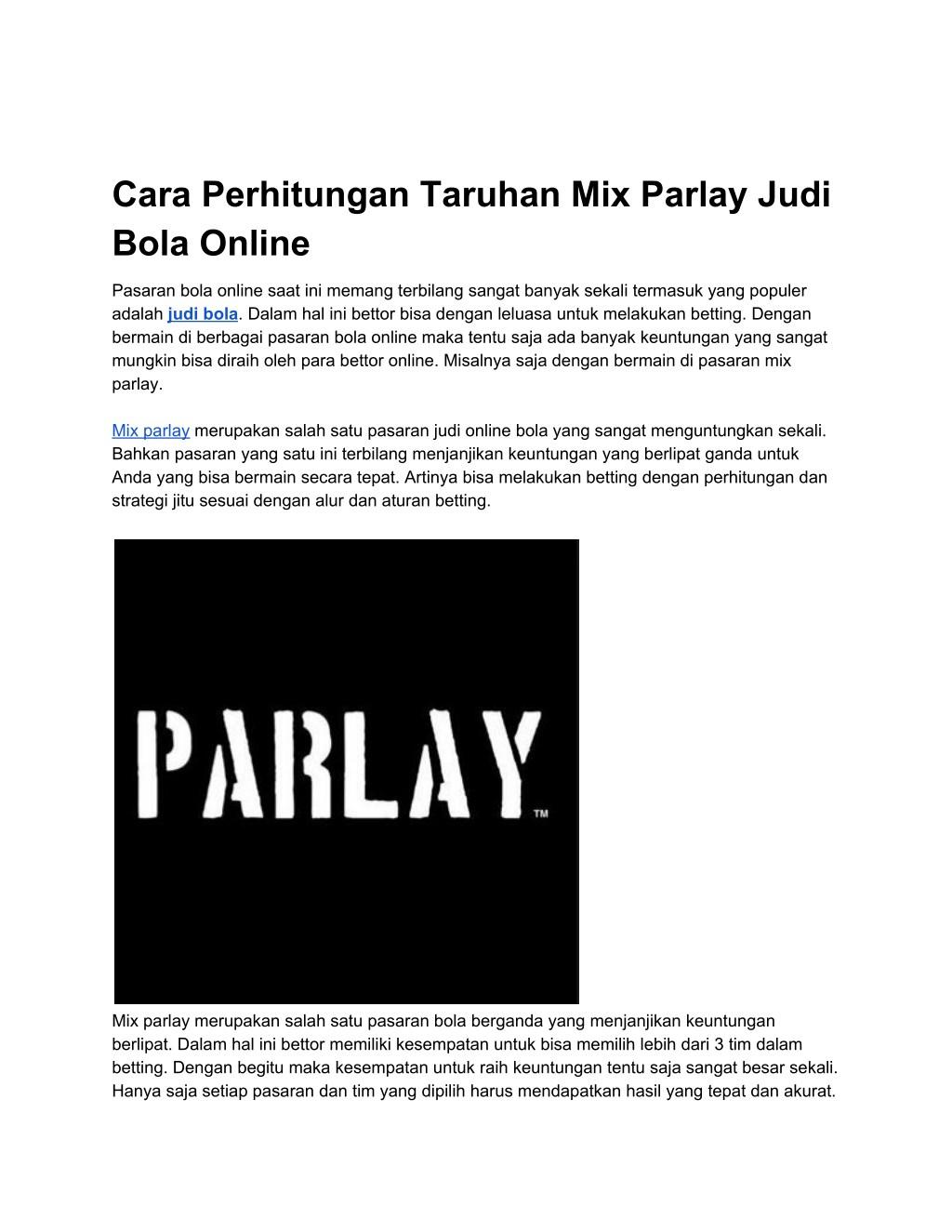 Ppt Cara Perhitungan Taruhan Mix Parlay Judi Bola Online Powerpoint Presentation Id 7962191