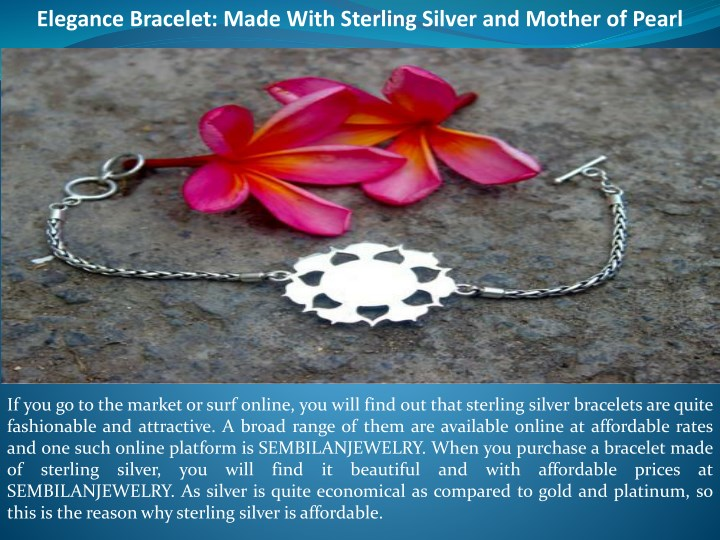 elegance bracelet made with sterling silver n.