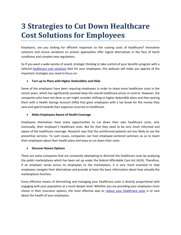 PPT - Healthcare Cost Solutions for Employers PowerPoint Presentation, free  download - ID:7963329