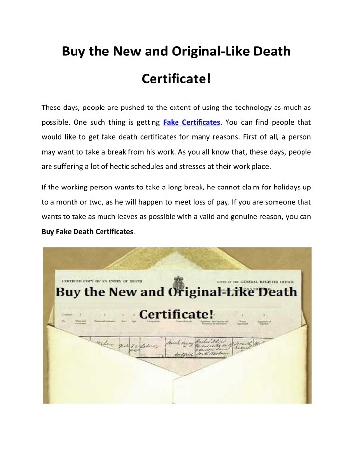 PPT - Buy the New and Original-Like Death Certificate! PowerPoint ...