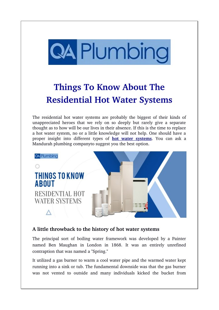Ppt Things To Know About The Residential Hot Water Systems