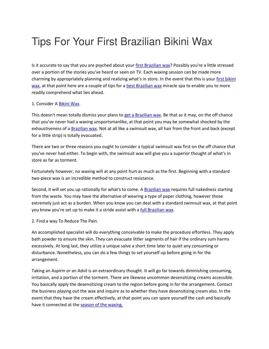 Bikini wax brazilian Cheap