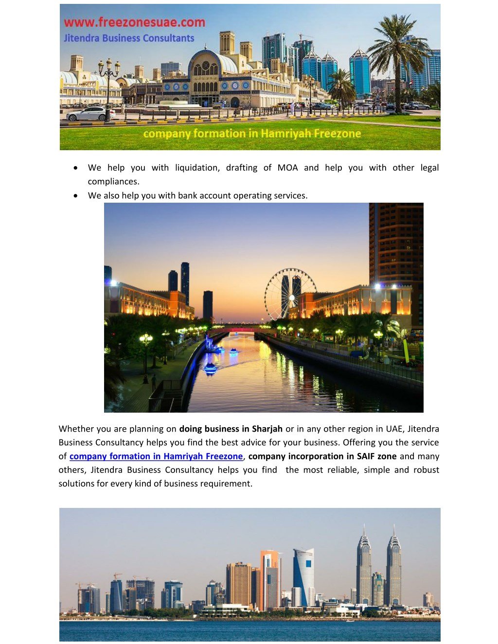 PPT - company formation in Hamriyah Freezone PowerPoint