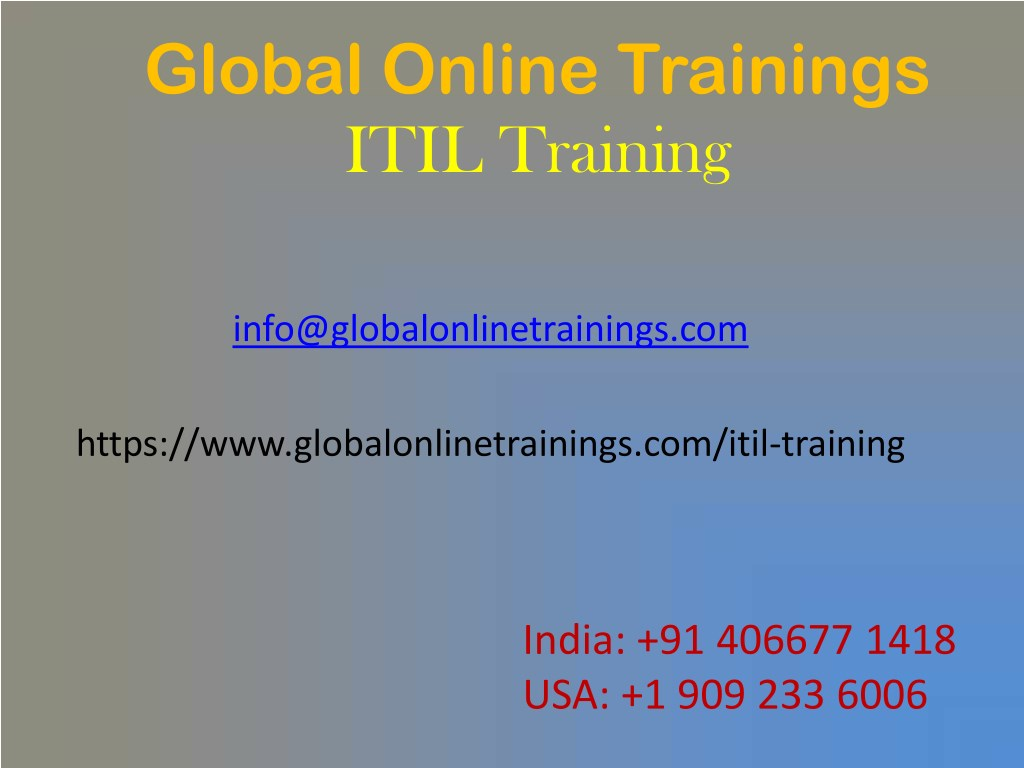 Ppt Itil Training Best Itil V3 Foundation Certification Online
