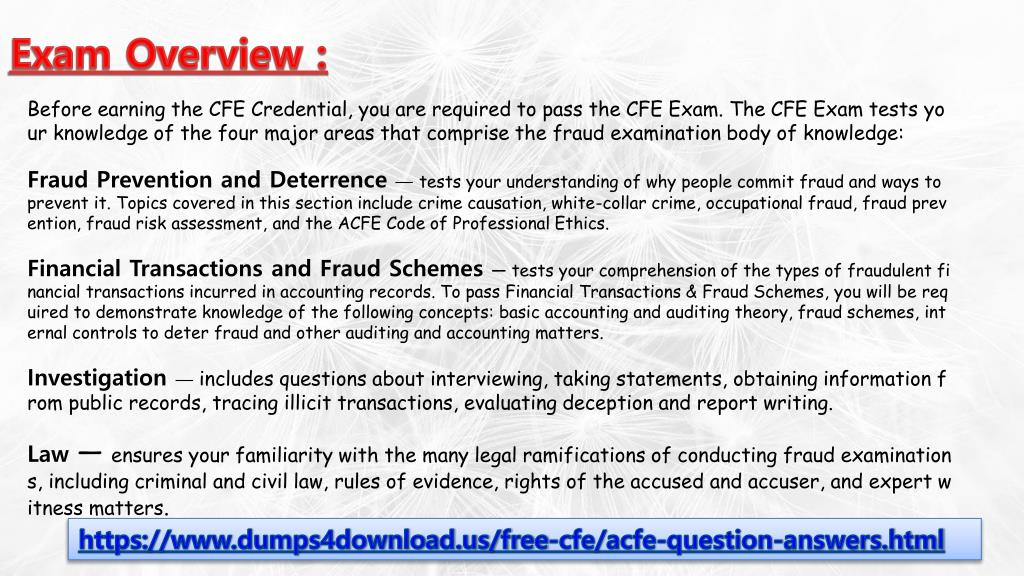 PPT - Auguest ACFE CFE Exam Dumps Questions - 2018 ACFE CFE