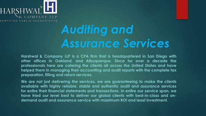 auditing and assurance services n.