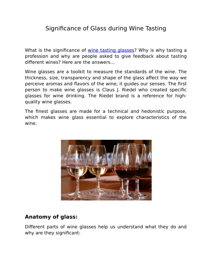 significance of glass during wine tasting n.