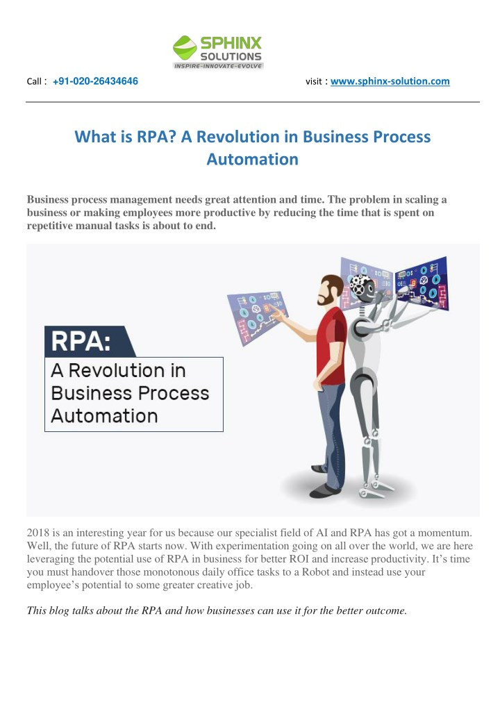 PPT - What is RPA? A Revolution in Business Process