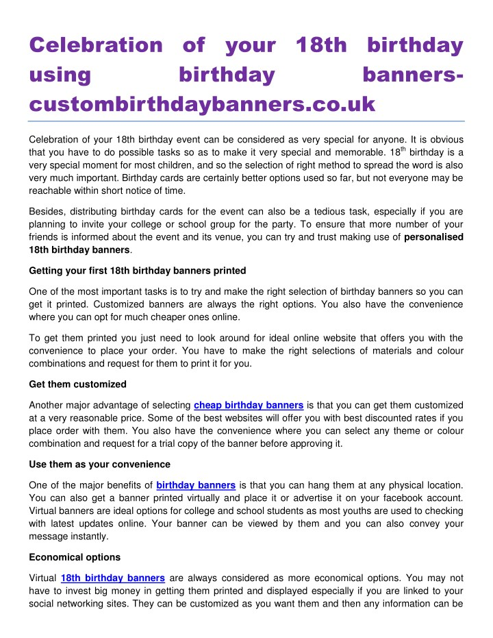 Ppt Celebration Of Your 18th Birthday Using Birthday Banners