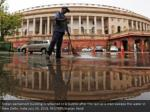 indian parliament building is reflected