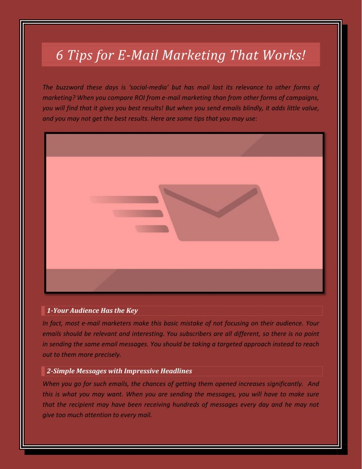 6 tips for e mail marketing that works n.