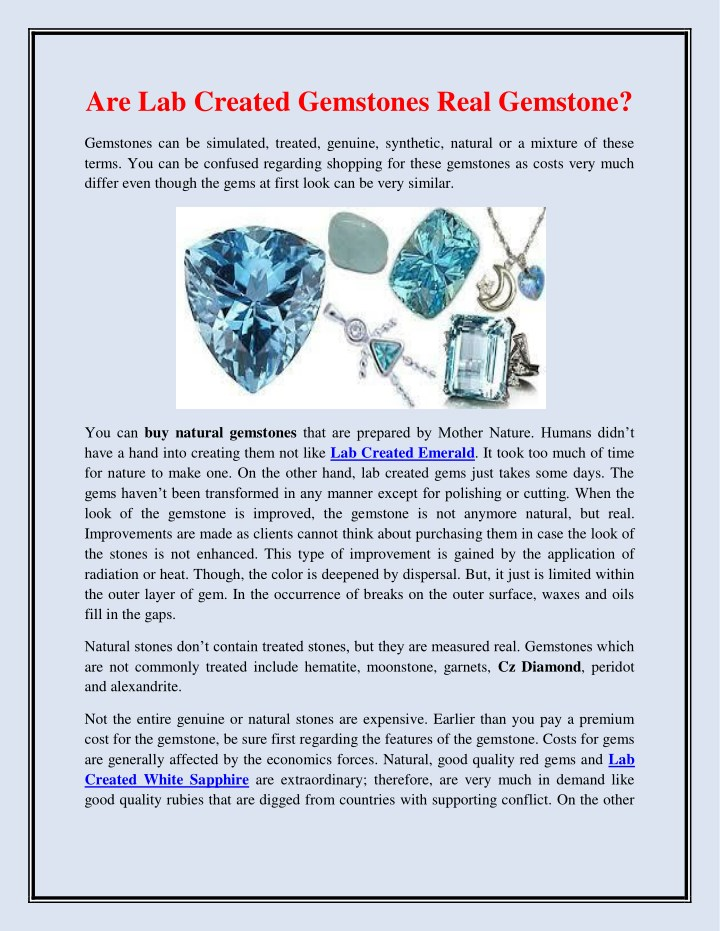 are lab created gemstones real gemstone n.