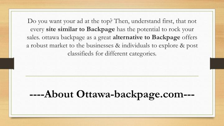 Backpage ottawa canada