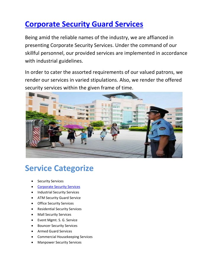 PPT - Corporate Security Guard Services PowerPoint Presentation - ID