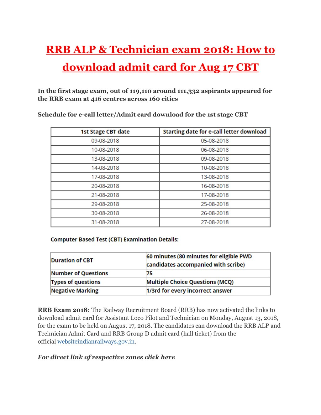 PPT - RRB ALP & Technician exam 2018: How to download admit card for