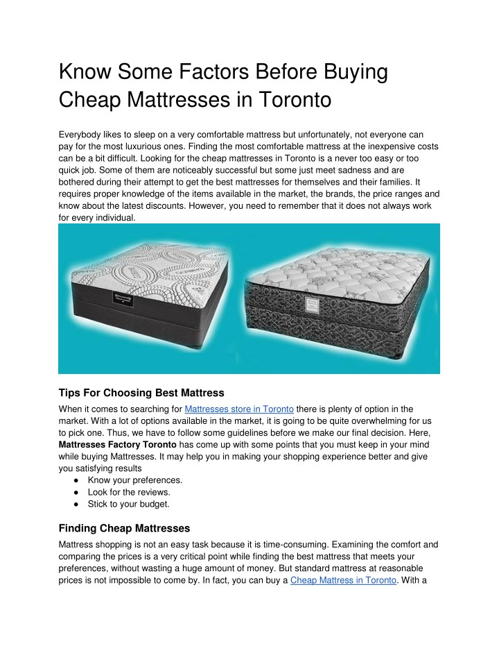 know some factors before buying cheap mattresses n.