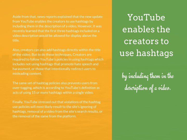 How to add hashtags to youtube video title
