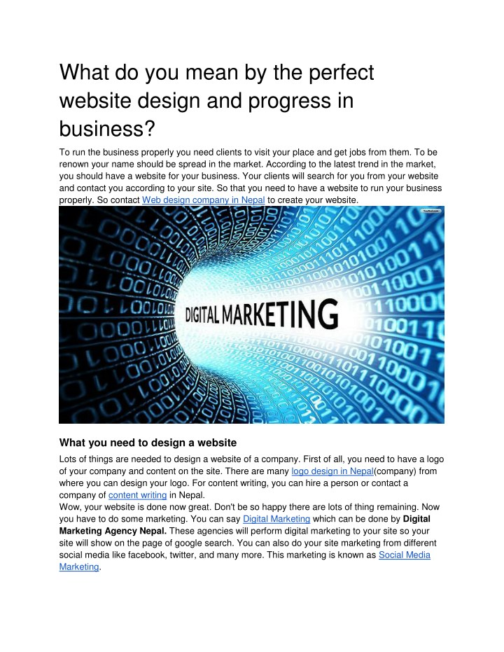Ppt What Do You Mean By The Perfect Website Design And Progress In