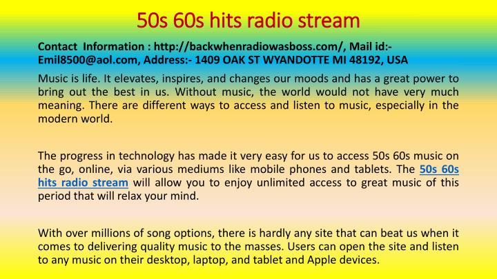 50s 60s hits radio stream n.