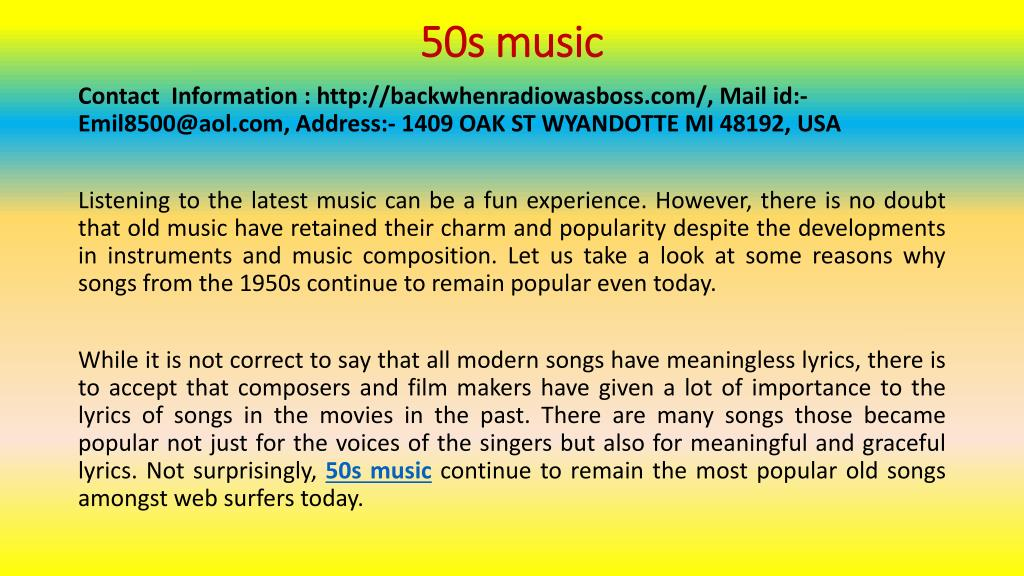 PPT - Great 50s Songs for Different Moods PowerPoint