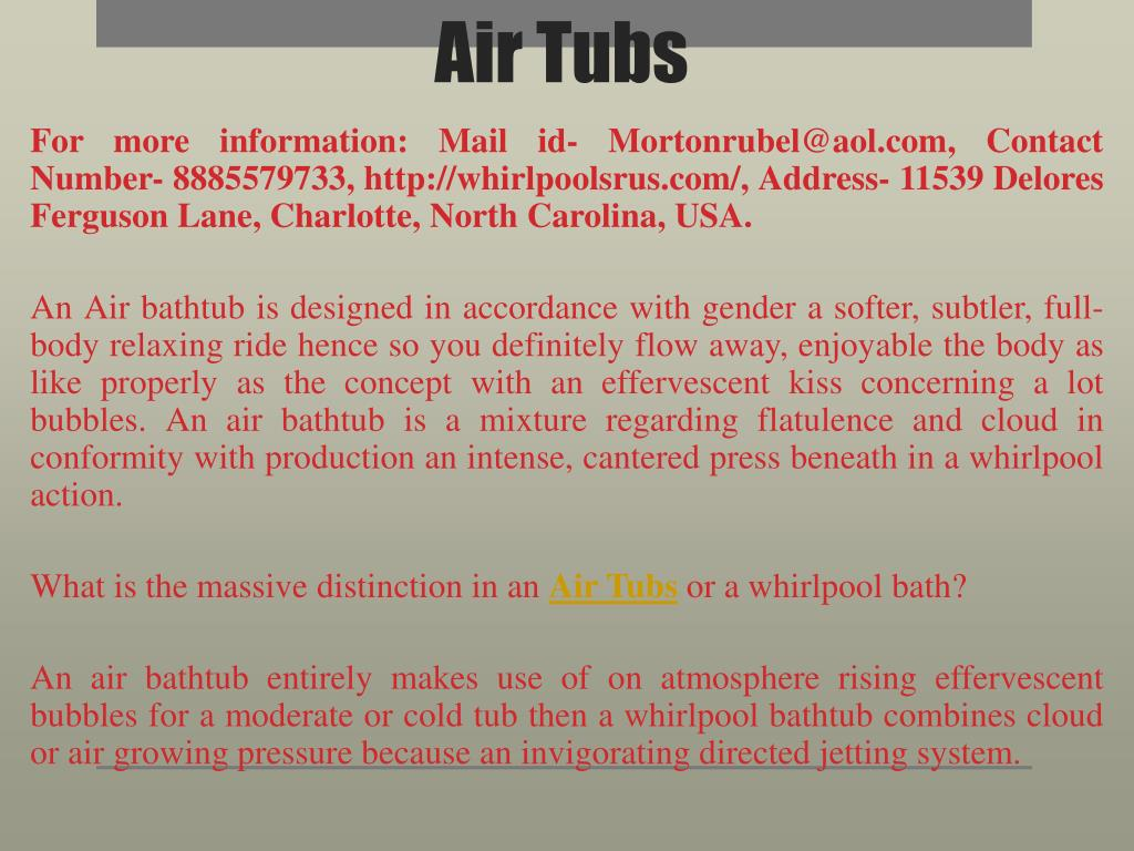 PPT - Air Tubs PowerPoint Presentation - ID:7974635