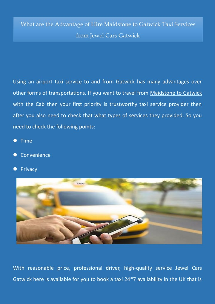 Ppt What Are The Advantage Of Hire Maidstone To Gatwick Taxi